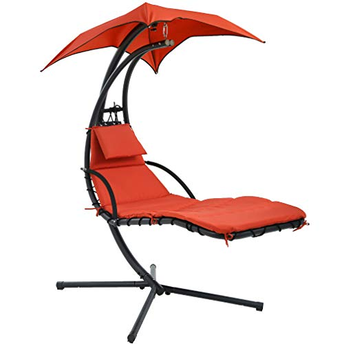 Hammock Chair Hammock Stand Outdoor Chair Patio Lounge Chair Outdoor Hanging Chair Patio Swing Chair for Adults Backyard Garden Deck Chair with Canopy Umbrella Free Standing Floating Bed Furniture