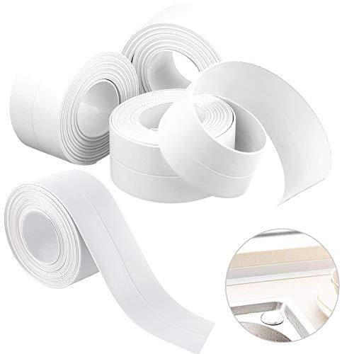 4 Pack Caulk Strip,PE Sealing Tape Self Adhesive Caulking Sealant Tape Waterproof/Mildew Proof for Bathroom, Kitchen, Bathtub and Wall Edge Protector(38mm x 3.2m x 4 Roll)