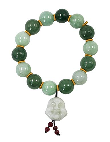 Dahlia Laughing Buddha Jade 12mm Bead Bracelet Genuine Certified Grade A Jadeite, 7'