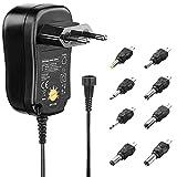 PerfectHD Universal Netzteil - Steckernetzteil 12v - 1A - Universal Adapter - 3v bis 12v - Umweltfre&lich - schwarz - 5 Varianten