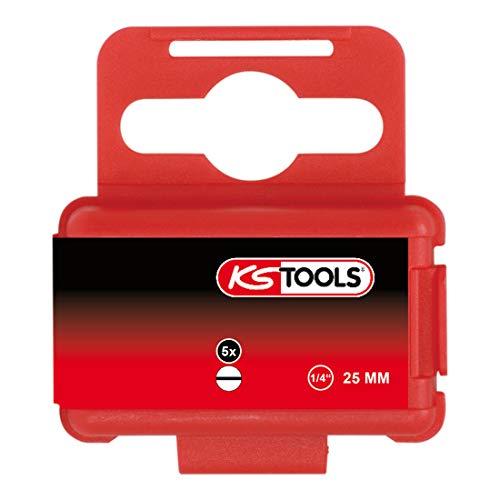 KS Tools 911.2253 - Boîte de 5 Embouts de Vissage Fente, L.25 mm - 1/4'' - 8 mm - En Acier Spécial