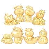 FAVOMOTO 8 Piezas de Oro Miniatura Vaca Figurita Feng Shui Buey Estatua 2021 Año del Zodiaco Chino del Buey Mascota Toppers Pastel de Hadas Jardín Animales para Micro Paisaje Ornamento