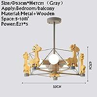 YYONGAO 動物LEDシャンデリア木製Lustresのためにリビングルームウッドベッドルームダイニングライト現代の天井にはシャンデリア、照明マウント (Lampshade Color : Gray)