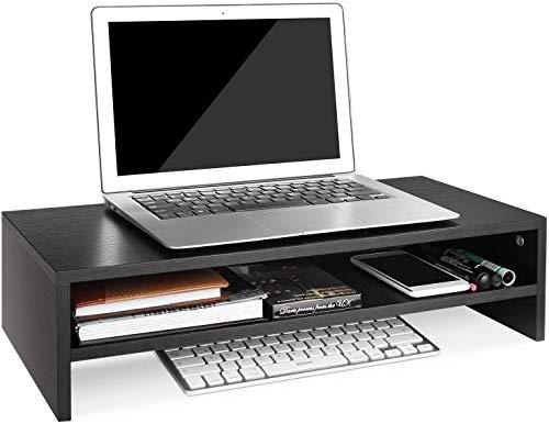Zhaoyun Hout Monitor Stand Screen Riser Desk Opbergrek met 2 Tier Planken Wit 54x25.5x14cm