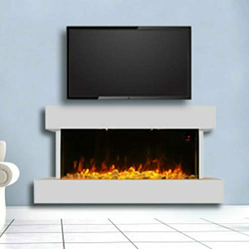 """garden mile? Modern 50"""" Hi Gloss White Wall Mounted Electric Fire Insert Fireplace Realistic 3D Flame Electric Fire Log Burner Wood Stove. 220/240V 1000w/2000w 7 Day 24hr Timer and Remote Control"""