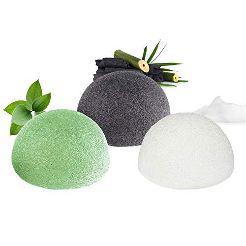 Éponge konjac visage, 100% naturelle (Lot de 3) pour l'exfoliation naturelle et le nettoyage profond des pores - Charbon de bambou/Thé vert/Blanc pur Forme hémisphère pour tous les types de peau