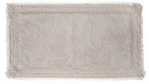 Badteppich Duschvorleger Badematte /'Lace/' 57 x 85 beige Baumwolle Vintage Shabby