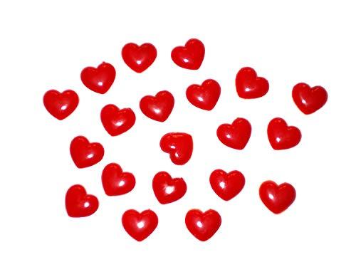 ERRO Lot de 20 petits cœurs semi-plastique En plastique comme une belle idée cadeau pour amoureux, cœur, coller et bricolage, bricolage, bricolage, cadeau de Saint-Valentin, cœur, décoration de table.