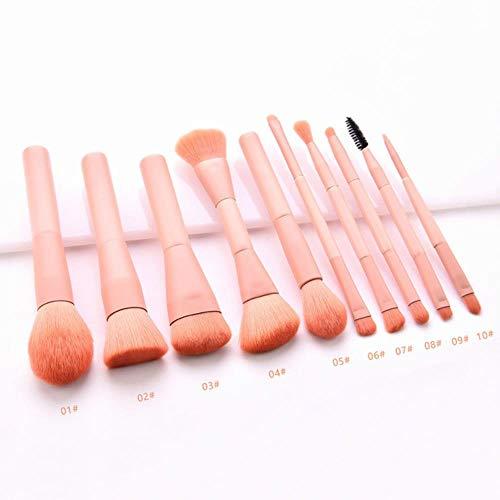 ASDFG Fondation en Bois Cosmétique Sourcils Fard À Paupières Brosse Maquillage Brosse Ensembles Outils Brosse Cosmétique Maquillage Outils 10 PCS, Rose