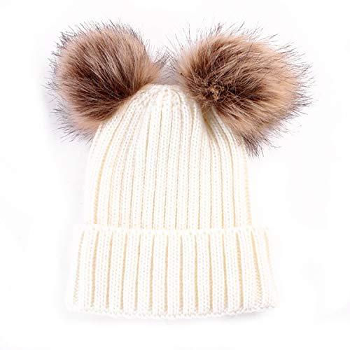 HaiQianXin Mujeres Moda Doble Pom Pom Bola de Piel de Punto de Ganchillo Invierno Cálido Beanie Cap Ski Beret Hat (Color : Beige)