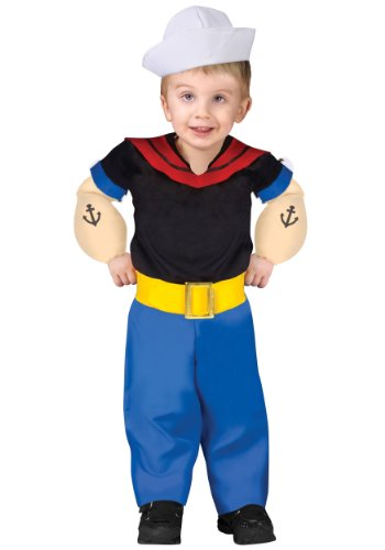 Fun World Toddler Popeye Costume Small (24mo-2T) Black,Blue