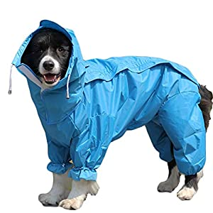 TFENG Dog Raincoat Waterproof Rain Jacket with Hood and Collar Hole Outdoor Adjustable Drawstring for Most Dogs