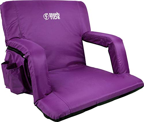 Brawntide Stadium Seat with Back Support - Ideal Stadium Seat for Bleachers, Sport Events, Camping, Concerts, Thick Padding, Comfy Cushion, Arm Rests, Bleacher Strap, 4 Pockets (Purple, Regular Size)