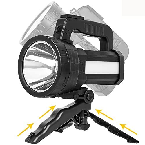 Samyoung Rechargeable Spotlight with 6 Lights Modes, 10000 Lumen Super Bright LED Flashlight, IP65 Waterproof Handheld Spotlight 10000mAh Long Lasting Large Flashlight Searchlight and Flood Camping
