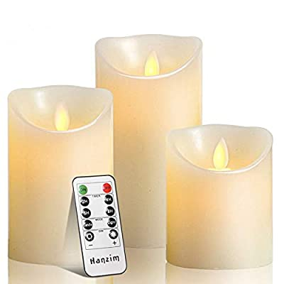 Flameless Candles Set of 9 Ivory Dripless Real Wax Pillars Include Realistic Dancing LED Flames and 10-Key Remote Control with 24-Hour Timer Function 400+ Hours by 2 AA Batteries (Ivory)