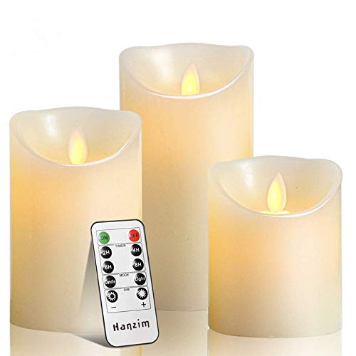 "HANZIM Flameless Candles, 4"" 5"" 6"" Set of 3 Real Wax Not Plastic Pillars, Include Realistic Dancing LED Flames and 10-Key Remote Control with 2/4/6/8-hours Timer Function, 300 Hours"