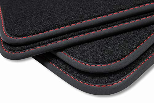 teileplus24 V331 Velours Fußmatten, passgenaue Fertigung, Trittschutz auf der Fahrer Fußmatte, Nubuk Bandeinfassung, Ziernähte, Naht:Rot
