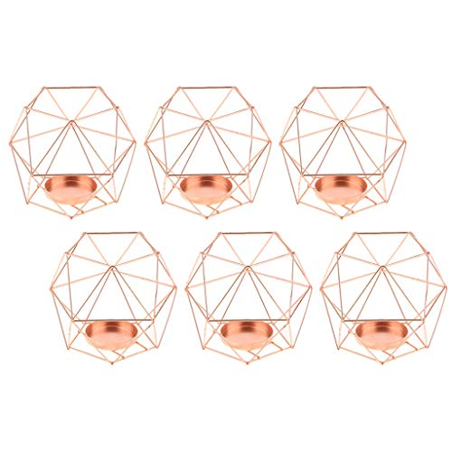 Fityle 6-Set Geometric Polished Tealight Candle Holder Table Top Centerpiece Weddings Events Parties Decor - Rose Gold