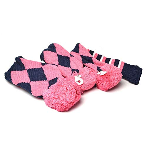 GOOACTION 3PCS Knitted Golf Head Covers 1-3-5 for Driver and Fairway Woods with Long Neck Design Vintage Argyle Navy Blue and Pink Sock Pom Pom Golf Club Head Covers Set