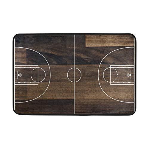 Mnsruu Felpudo de baloncesto con diseño de pista de baloncesto para dormitorio, puerta delantera, baño, cocina, decoración del hogar, 60 x 40 cm