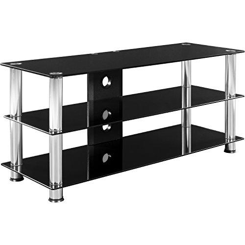 STILISTA TV Rack Fernsehtisch Glas Tisch in Schwarzglas-Optik, 110 x 50 x 40 cm, 8mm Sicherheitsglas