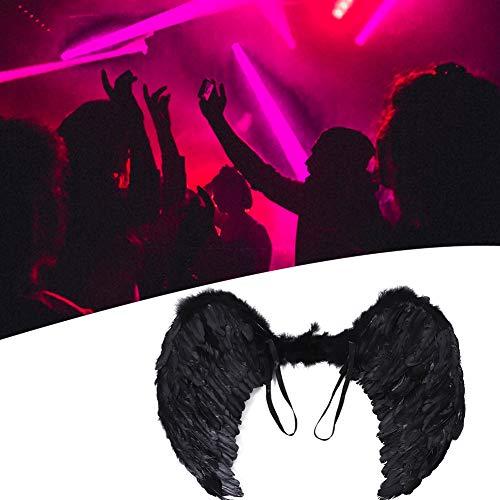 Hochzeitsfeier Angel Wings, Federflügel Fotografie Requisiten, Für Party Stage Theme Partys Bühnenperformance Kinder/Erwachsene Halloween(Black)