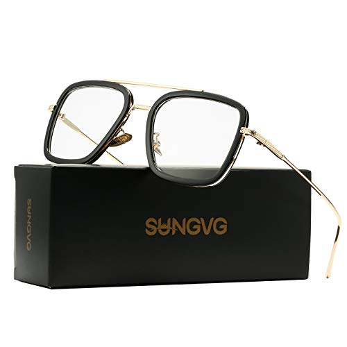 SUNGVG Tony Stark Aviator Sunglasses for Men Women Square Metal Frame - Iron Man and Spider-Man Vintage Sunglasses (Gold/Black/Clear)