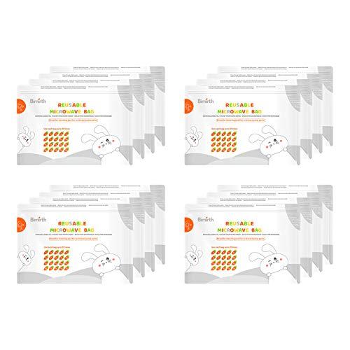 JJone Sacos reutilizáveis de esterilização de micro-ondas Sacos de esterilização a vapor para mamadeiras Bomba de mama Teethers Chupetas Copos de treinamento, 16 unidades de sacos Total 320 usos