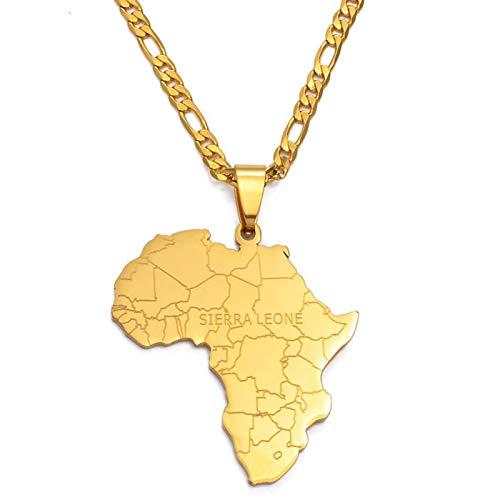 Collar de mapa, colgante vintage de Sierra Leona África mapa exquisitos collares accesorios de color dorado, mapas africanos, regalos de fiesta, joyería de moda para hombre y mujer y niña