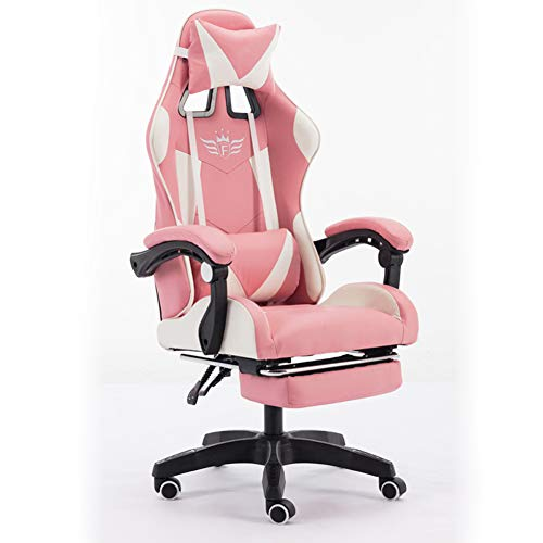 Wgwioo Gaming Chair, Retractable Footrest and Headrest, Racing Ergonomic High-Back PU Leather Office Computer Executive Desk Chair,Pink