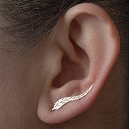 Oorbel bengelen Vintage sieraden Prachtige gouden kleur blad oorbellen moderne mooie Feather Stud Oorbellen voor vrouwene02gold