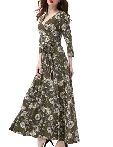 Aphratti Women's 3/4 Sleeve Casual Faux Wrap V Neck Floral Maxi Dress Green XL