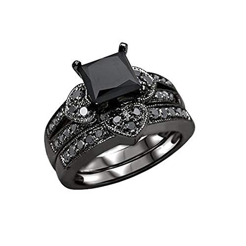 Goddesslili Black Diamond Rings for Women Ladies Girlfriend, Gorgeous Square Hollow Design Vintage Retro Wedding Engagement Anniversary Luxury Jewelry Gift, 2019
