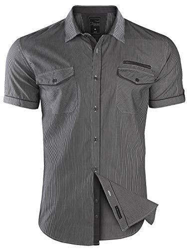 Herren Hemd Kurzarm GESTREIFT Slim FIT Sommer 100% Baumwolle Polo Style, Größe:3XL, Modell/Farbe:02_Grau