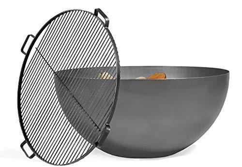 BlackOrange Designer Feuerschale Moon Ø 85 cm mit Grillrost aus Stahl Ø 80 cm