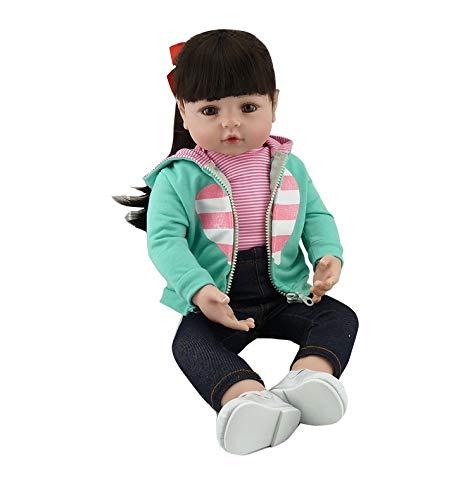 Pinky Reborn Bambola Reborn Bambola Reborn 18 pollici 45 cm 55 cm Reborn Bambola realistica in silicone morbido Vinile Bebe Reborn Bambolotto giocattolo Xmas (Black 18 inch)