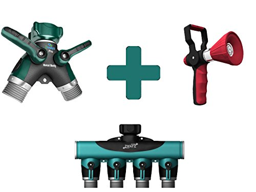 2wayz Gardening Bundle: 2 Way Splitter + 4 Way Splitter + Garden Hose Nozzle