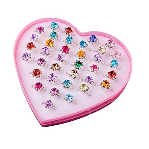 Toyvian 36 Piezas Anillos Princesa para Niños con Caja Corazón Juguete para Bebés Niñas Color Aleatorio
