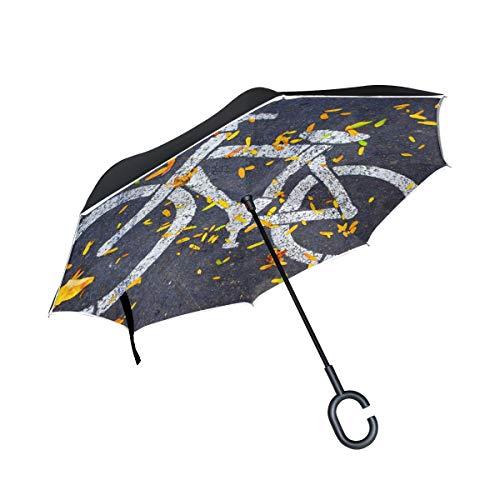 Lenenl - Paraguas invertidas para bicicleta de asfalto de doble capa para coche y uso al aire libre, resistente al viento, impermeable, protección UV, gran recto, con forma de C