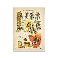 YQQICC アンティークミツバチプリントナチュラルポスター昆虫ヴィンテージフレンチミツバチ壁アートキャンバス絵画セピアトーン蜂図壁の装飾 -40x50cmフレームなし