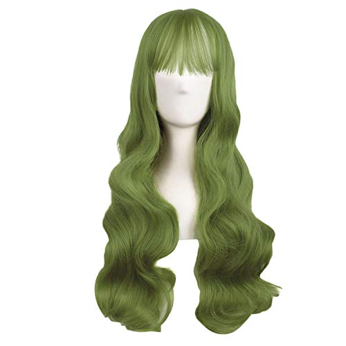 MapofBeauty 28 Inch/70cm Beautiful Special Color Air Bangs Long Wavy Curly Lolita Cosplay Wig (Light Sea Green)