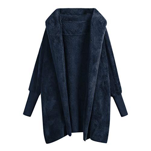 MRULIC Damen Cardigan Revers Jacke Lose Outwear Fleece Winterjacke Mit Hooded Pullover Mode Kurz Coat Streetwear Plüschjacke Winter Warm Lose Langarm Faux Fur Mantel