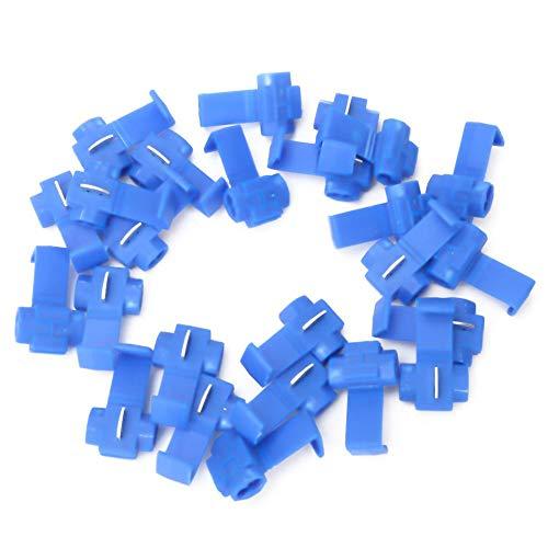 Conectores de cable de 25 piezas para 14-18 AWG, Terminales de Cable Eléctrico de Conexión Rápida de Empalme Sin Soldadura, Azul, 0.75-2.5 mm²