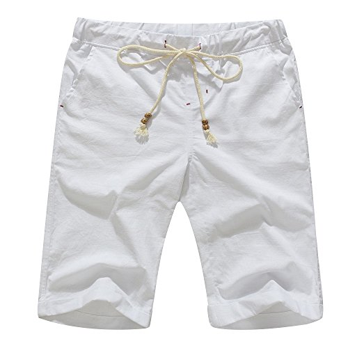 Janmid Men's Linen Casual Classic Fit Short White M
