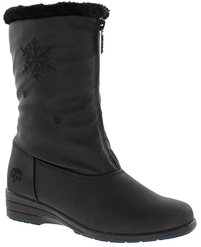 Totes Women's Nicole Black Snow Boot | Waterproof Mid Calf Soft Sole Front Zipper Closure Boot Size,Black,8 B(M) US