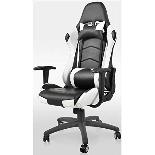 Racestoel verstelbare hoge rugleuning bureaustoel, racestoel computer stoel gaming chair ergonomische anker stoel stoel internet cafe zitting het eten van kip stoel camouflage doek-Blackwhite ZHNGHENG