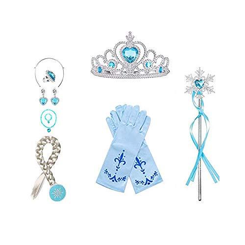WENTS Princesa Disfraz Accesorios 8 Pcs Azul Elsa Princesa Accesorios de Disfraces, Regalo Conjunto de Belleza - Corona Anillo Sceptre Collar Pendientes Guantes para Nia