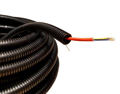 Flexibler kabelkanal leerrohr für kabel durchmesser M25, 25meter, mit leerrohr Zugdraht, wellrohr UV-beständiger Schutz des Stromkabels innen und außen, Mindestdruckfestigkeit 320N