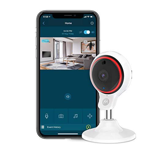 Motorola Focus 71 - Telecamera per interni wireless Full HD 1080p con inclinazione manuale e zoom digitale e app Hubble Wi-Fi connessa per smartphone o tablet - Bianco