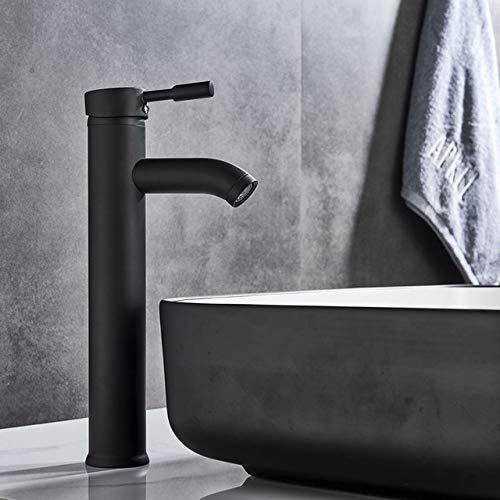 HJFGSAK Wasserhahn Schwarzer Waschbecken Wasserhahn heiß und kalt Wasserhahn Deck montiert Messing Bad Wasserhahn Einloch-Wasserhahn Becken Wasserhahn, schwarz hoch, Polen